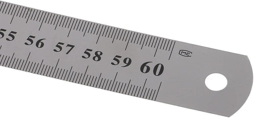 Xuniu in Acciaio Inossidabile a Doppia Faccia con Riga Righello Bordo da 60 cm in Argento