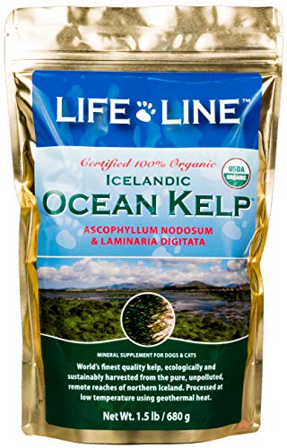 Life Line Pet Nutrition Organic Ocean Kelp Supplement for Skin & Coat, Digestion in Dogs & Cats,1.5lb