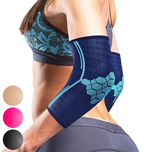 Sparthos Elbow Compression Arm Sleeves (Pair) – Tendonitis Elbow Brace Golfer's Tennis Elbow Support for Men and Women – Injury Recovery & Prevention Biceps Triceps Joint Pain Relief (Blue-M) (Sleeve Protective Forearm)
