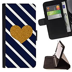 Jordan Colourful Shop - heart glitter lines navy blue love For Apple Iphone 5 / 5S - Leather Case Absorci???¡¯???€????€????????