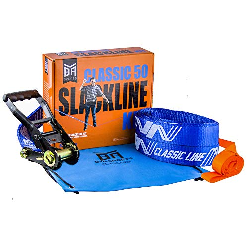 BYA Sports Classic Slackline Set - Complete 50-Foot Kit with Beginners Help Line, Ratchet Set and Tree Protection Wraps