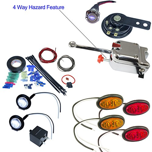 UTV ATV Turn Signal Kit with Horn (Oval LED, Lever - Turn Signal Hood Wiring