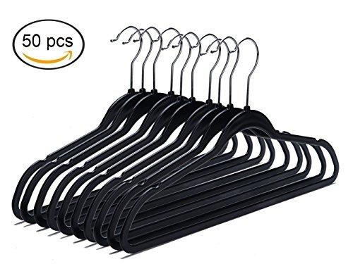 Quality Plastic Non Velvet Non-Flocked Hangers Black Swivel Hook- (50)