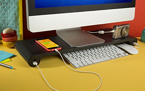 Smart Monitor Stand with Six USB Ports Hub and Keyboard Storage Space - Black
