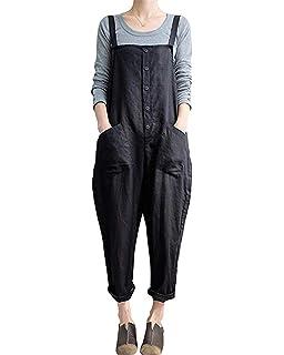 6b7e87b3b4345 Bingbo Women Plus Size Overalls Baggy Bib Rompers Casual Wide Leg Pants  Sleeveless Jumpsuit Harem Overalls