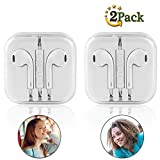 iPhone Earphones,Earbuds/Headphones with Stereo Mic&Remote Control for iPhone Samsung Compatible with 3.5 mm Headphone [2-Pack] (WWW05) (White)
