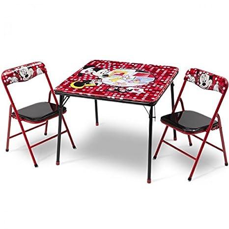 Diseño de Minnie Mouse infantil de mesa plegable silla plegable para niños mesa + 2 sillas, nuevo