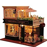 Kisoy Romantic and Cute Dollhouse Miniature DIY House Kit Creative Room Perfect DIY Gift for Friends,Lovers and Families(France Cafe Tour)