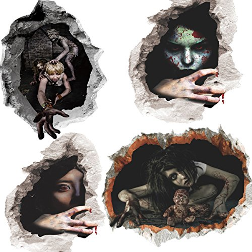 Lucky Shop1234 3D Halloween Horror Wall Decor Vivid Ghost Hand Scratching The Wall Cracked Floor Scary Wall Sticker Decal Removable Home Decoration Art Mural Wallpaper 4pcs
