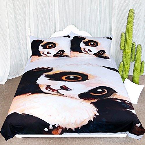 ARIGHTEX Sleep Panda Bedding Vintage Panda Bear Duvet Cover Wildlife Bed Sets 3 Pcs Animal Bedding for Teens -