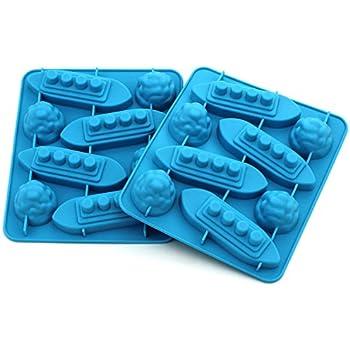 Zicome Titanic Iceberg Shaped Silicone Chocolate Candy Making Mold Tray and Ice Cube Trays - Set of 2
