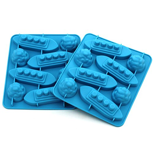 Zicome Titanic Iceberg Shaped Silicone Chocolate Candy Making Mold Tray and Ice Cube Trays - Set of 2 (Ice Cube Decorations)