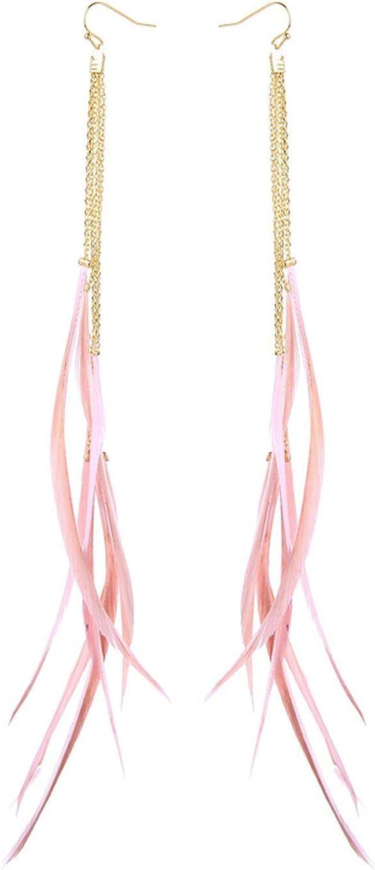 Pendientes Joyería Jewelry,Women Long Earrings Newest Ethnic Style Feather Tassel Dangle Earrings Fashion Jewelry