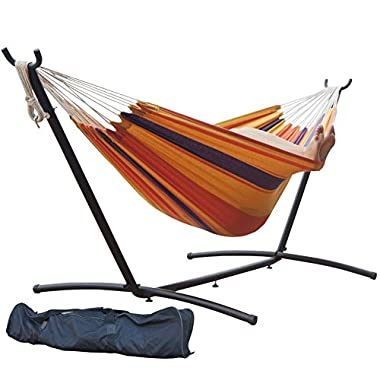 Prime Garden Double Hammock with Steel Stand, 9 Feet - Orange Stripe