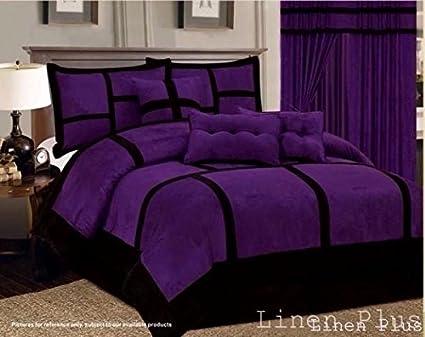 Amazon Com 7 Piece Patchwork Purple Black Micro Suede Comforter