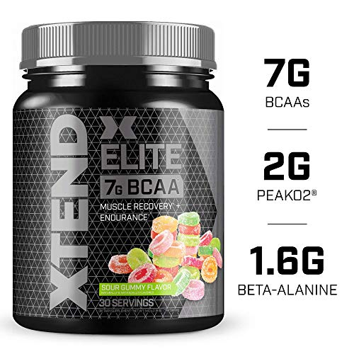 XTEND Elite BCAA Powder Sour Gummy | Sugar Free Post Workout Muscle Recovery Drink with Amino Acids | 7g BCAAs for Men & Women| 30 Servings