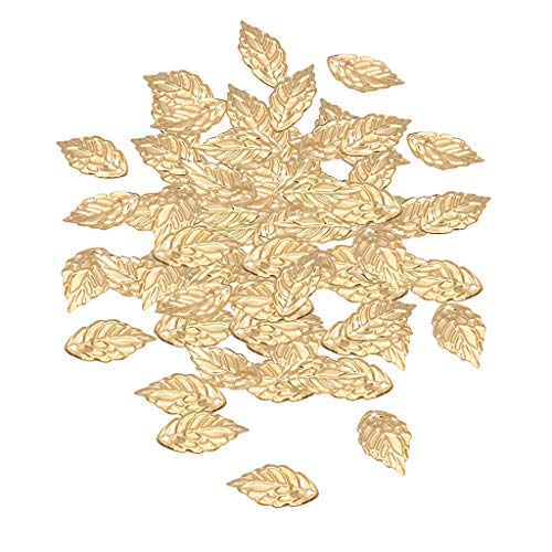(MagiDeal 100Pcs Leaf Shape Charms Jewelry Findings DIY Necklace Decoration Craft Jewelry Making Charms Jewelry Pendants Metal 18x10mm - Golden)
