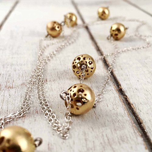 (Long Sterling Silver Chain Necklace with Small 18k Gold Plated Artistic Filigree Balls, Handmade in Peru by Claudia Lira, 42