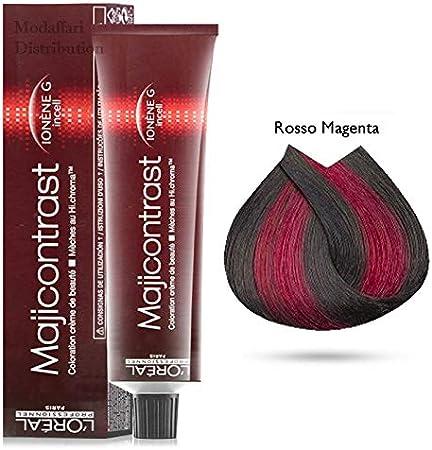 Tinte para el pelo Majicontrast de Loreal, 3 botes de 50 ml, color rojo magenta