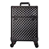 HUKOER Aluminum Alloy Cosmetic Case Drawbars Beauty Salon Toolbox Multi - Layer Embroidery nail Boxb (black)