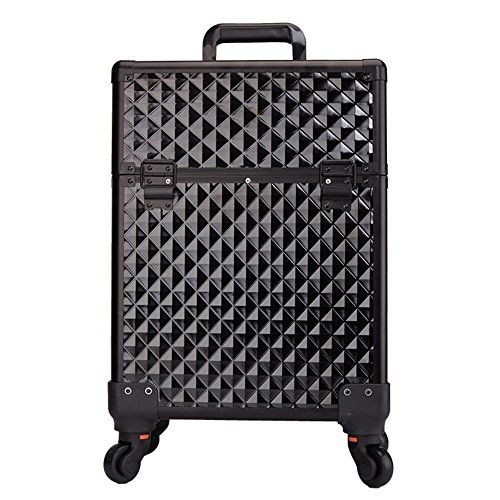 HUKOER Aluminum Alloy Cosmetic Case Drawbars Beauty Salon Toolbox Multi - Layer Embroidery nail Boxb (black) by HUKOER