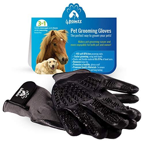 4pawzz Premium Quality Pet Grooming Gloves Deshedding Brush for Dogs/Cats/Horses One Pair Removes Fur Massages and Cleans Ideal for Any Pet Short/Medium/Long Fur (Grey) from 4pawzz