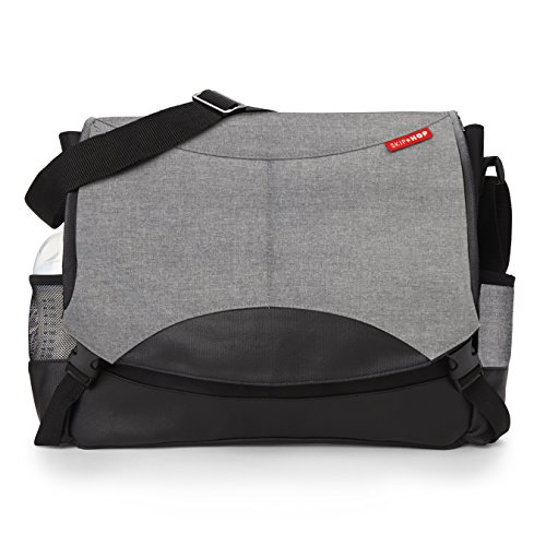 Skip Hop Baby All-in-One Swift Changing Station Messenger Diaper Bag, Heather Grey