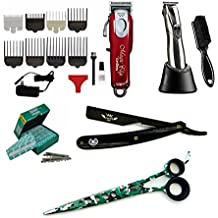 "Traveling Barber Kit Cosmetology School Kit / Beauty Professional hairdressing Wahl Cordless Magic Clipper Andis Slimline Pro Li Trimmer Zeepk 8"" Shears Barber Shavette Razor with 100 Derby Blades"