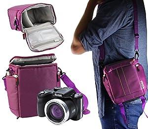 Navitech Purple DSLR Camera Carrying Case Travel Bag Compatible The Kodak Pixpro AZ401