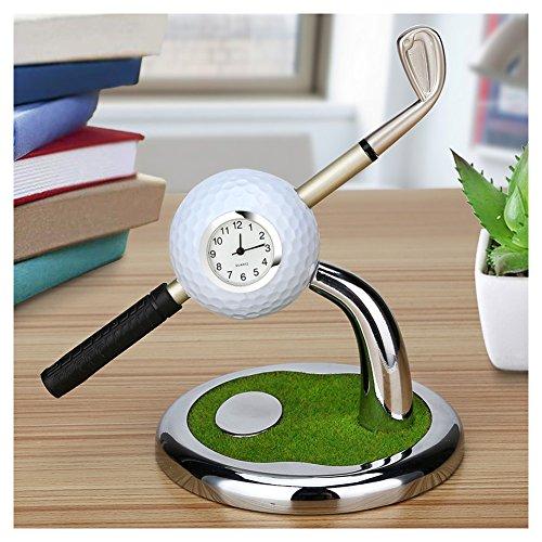Golf Souvenir with Clock Golf Bag Holder Mini Desktop Gift Novelty Golf Model with Golf Pen(White)