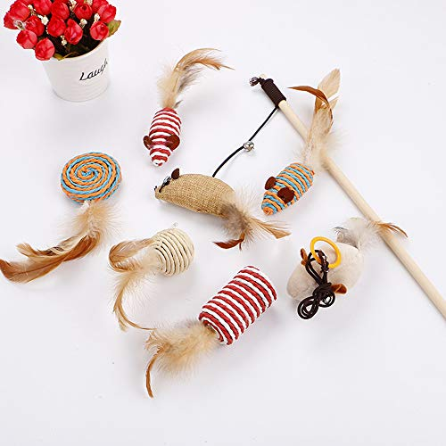 Palmula 7Pcs Cat Toys Variety Pack Feather Toys for Kitten,Natural Interactive Teaser Wand with Feather Ball Bell Mice for Cat,Puppy (Cat Toys Natural)