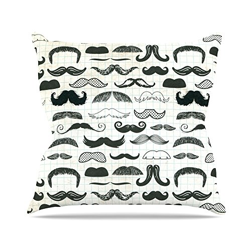 Gray Black Kess InHouse Heidi Jennings Stached Throw Pillow 20 by 20