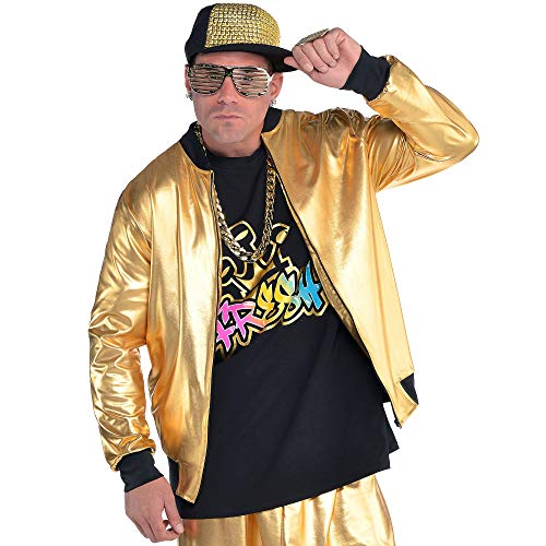 AMSCAN Gold Hip Hop Track Jacket Halloween Costume Accessories for Men, One Size]()