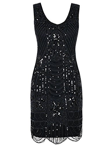 PrettyGuide Women's 1920s Gatsby Sequin Art Deco Scalloped Hem Cocktail Flapper Dress L Black (1920s Dresses Plus Size)