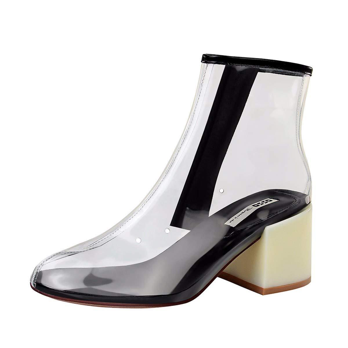 LBTSQ Damenschuhe Mode Mode 6 cm Hoch Farbabstimmung Dicke Sohle Perspektive Runden Kopf Slim Nackte Füße Seite Reißverschluss Transparent Stiefel