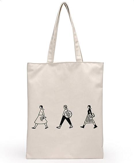 Leisial Bolsa de Lona de Algodón Bolso de Hombro Bolsa de la Compra de Grande Bolso de Viaje para Mujer Chica Portátil 40 * 32CM