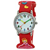 Princess Love Heart 3D Silicone Strap Round Case Japanese Quartz Kids Waterproof Clasp Rubber Band Arabic Numerial Dial Children Toddler Wristwatches Time Teacher Boys Girls Little Child Unisex Watch