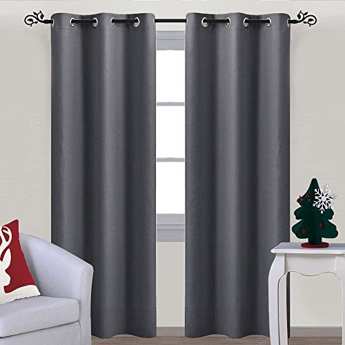Gray Curtain Blackout Drape Panel - NICETOWN Three Pass Microfiber Noise Reducing Thermal Insulated Window Drapery with Grommet (Single Panel, 42 x 84 Inch, Grey) - 84 Inch Pole Top Curtain