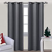 NICETOWN Ring Top Blackout Curtains - Solid Three Pass Microfiber Drapes of Noise Reducing and Thermal Insulation (One Panel,42 x 84 Inch,Gray)