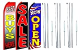 Best+buys+here,+sale, Now Open King Swooper Feather Flag Sign Kit With Complete Hybrid Pole set- Pack of 3