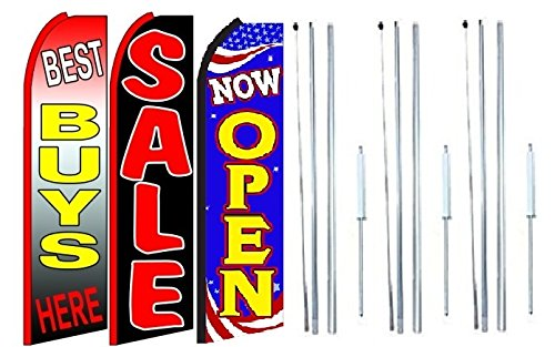 Best+buys+here,+sale, Now Open King Swooper Feather Flag Sign Kit With Complete Hybrid Pole set- Pack of 3 by OnPoint Wares