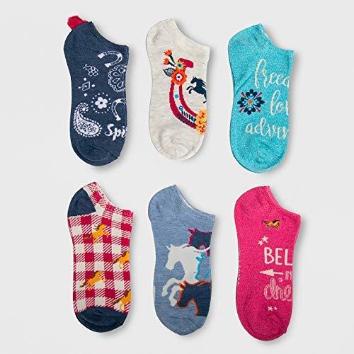 Girls Spirit Riding Free 6pk Socks (Large -