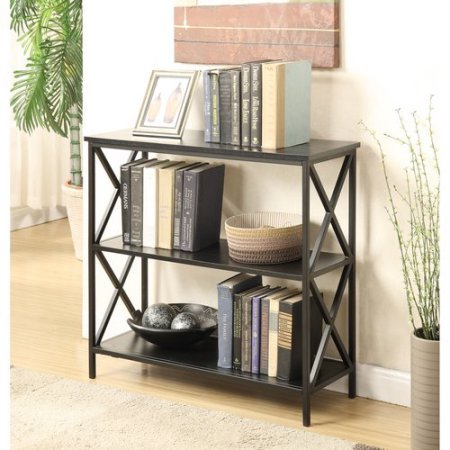 Convenience Concepts Tucson 3-Tier Bookcase Black cross fram