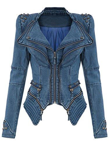 Fanala Women's Fashion Studded Perfectly Shaping Faux Leather Biker Jacket Blue ()