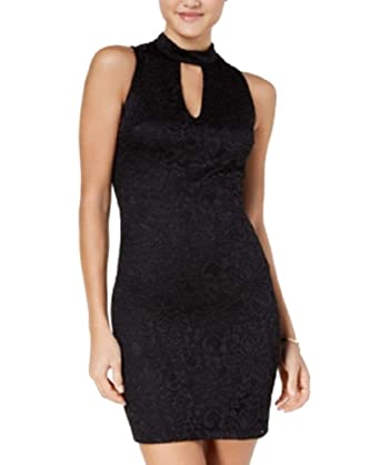 Amazoncom Bcx Juniors Glitter Lace Bodycon Dress Black