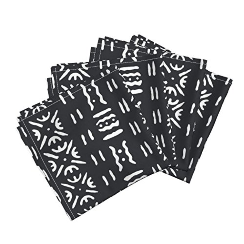 Roostery Black and White mud Cloth Linen Cotton Dinner Napkins Tribal Aztec Tribal Western Mud Cloth Black and White Organic Kni by Willowlanetextiles Set of 4 Dinner - Aztec Dinner