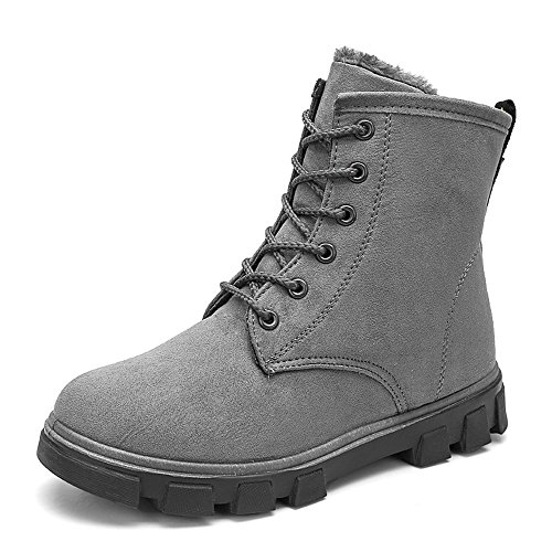 Manyis Womens New Winter Lace Up Combat Stivaletti Snow Warm Boots Grigi