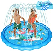 "WOWGO Sprinkler & Splash Play Mat for Kids, Upgraded 68"" Colourful Splash Pad, Summer Inflatable Outd"