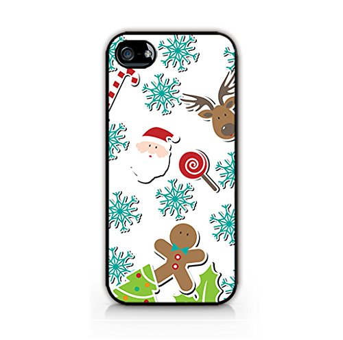 Christmas Gift Ideas for iPhone 5C/ iPhone 5C - Reindeer Santa Claus Snowflakes Candy Cane Picture Case - Christmas Decorations Whire Pattern iPhone Case - Rubber TPU Gel Soft Case Cover for iphone-MFVN