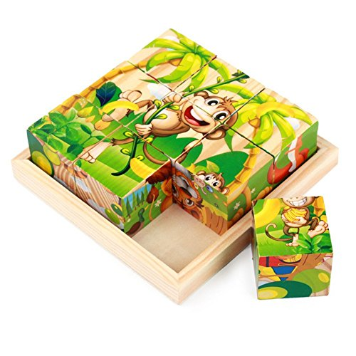Ehdching 3D Wooden Preschool Educational Cube Block Jigsaw Puzzles with 6 Patterns for Age 1 2 3 Years Old and Up Toddler